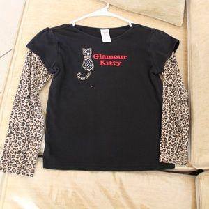 Gymboree Glamour Kitty Rhinestone Tee Shirt Size 9